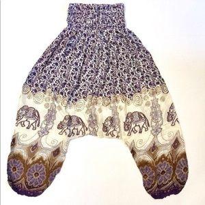 Purple Elephant Harem Pants